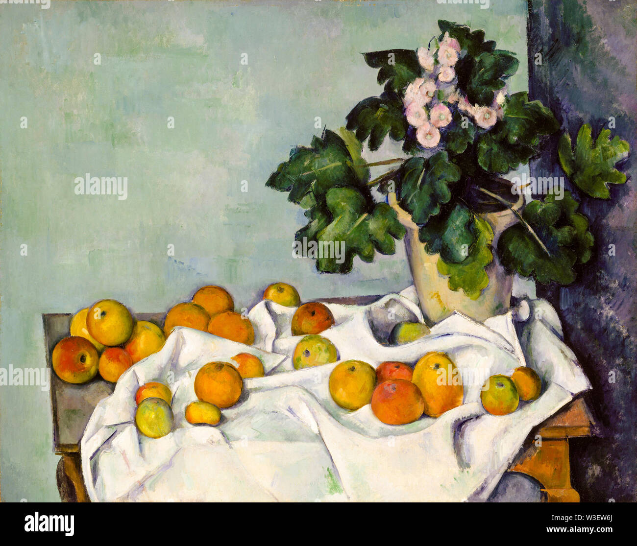 Paul Cézanne, Bodegón con manzanas y una olla de Prímulas, bodegón pintura, circa 1890 Imagen De Stock