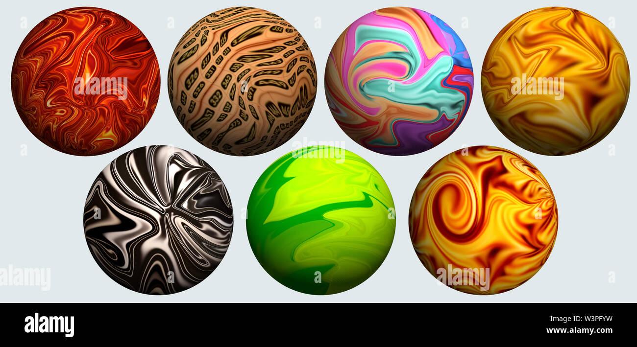 La bola es aplastado por el color.extraña bola rayada. Foto de stock