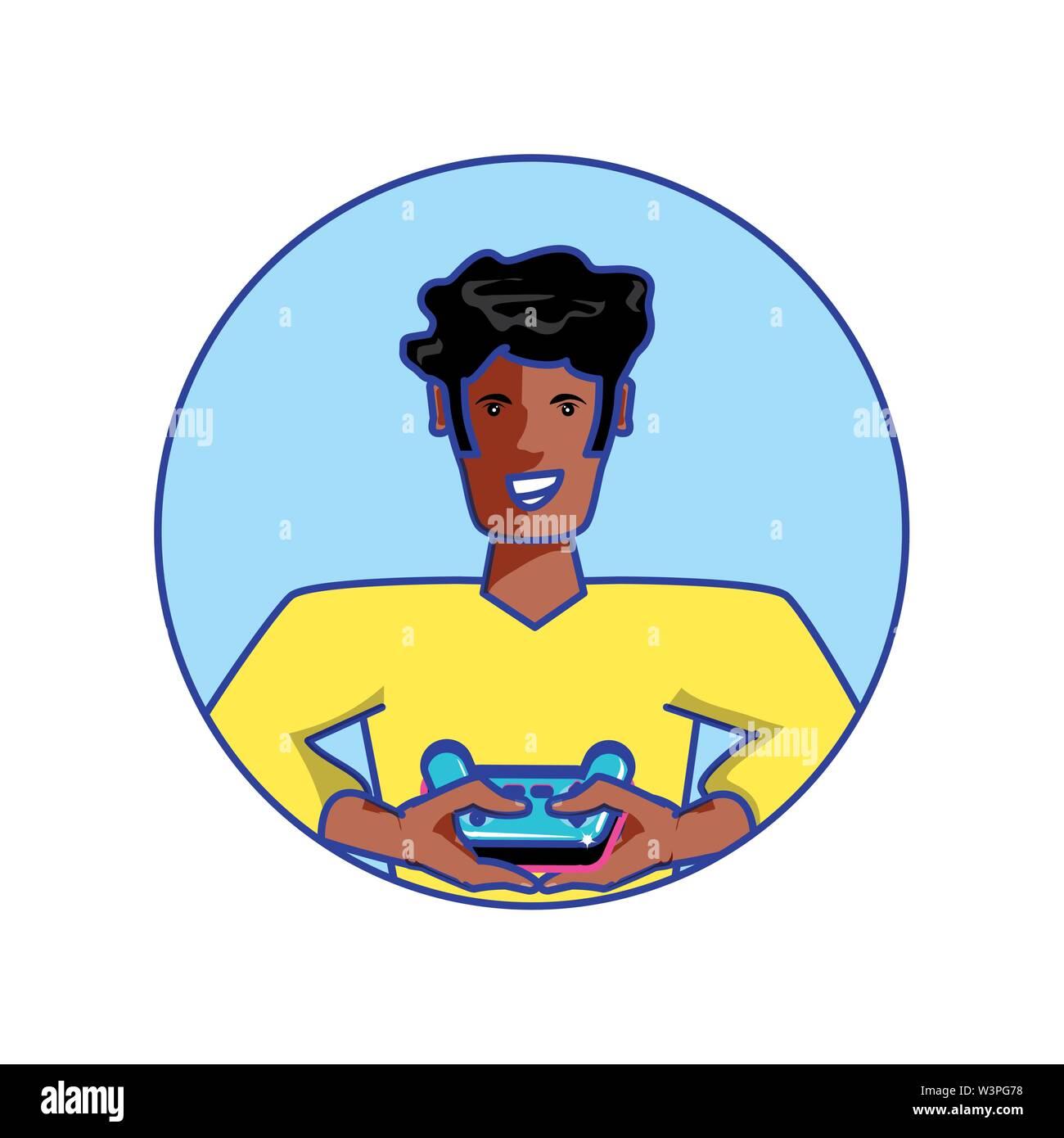 Afro joven muchacho usando control de videojuegos, diseño de ilustraciones vectoriales Imagen De Stock