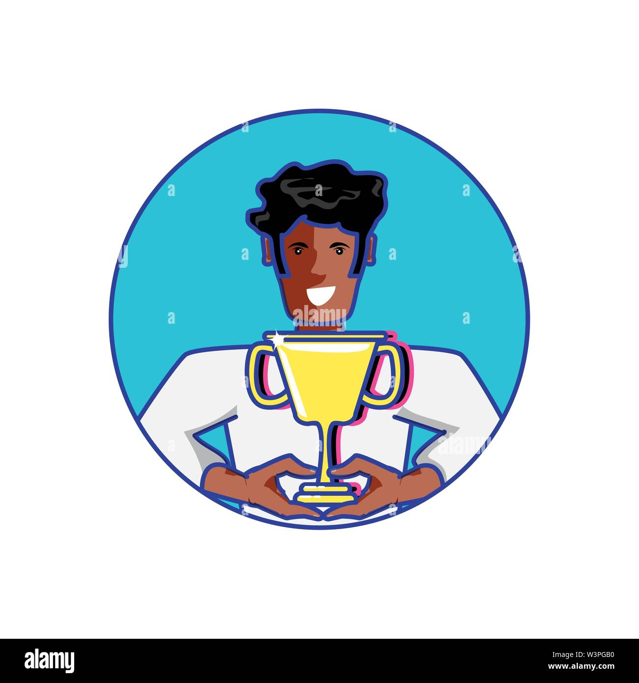 Ganador del premio afro con el Trofeo Copa diseño ilustración vectorial Imagen De Stock