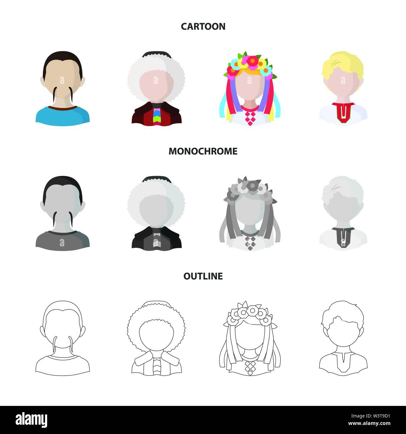 Ilustración vectorial de imitador y símbolo de residente. Conjunto de imitador y cultura icono vectorial de stock. Imagen De Stock