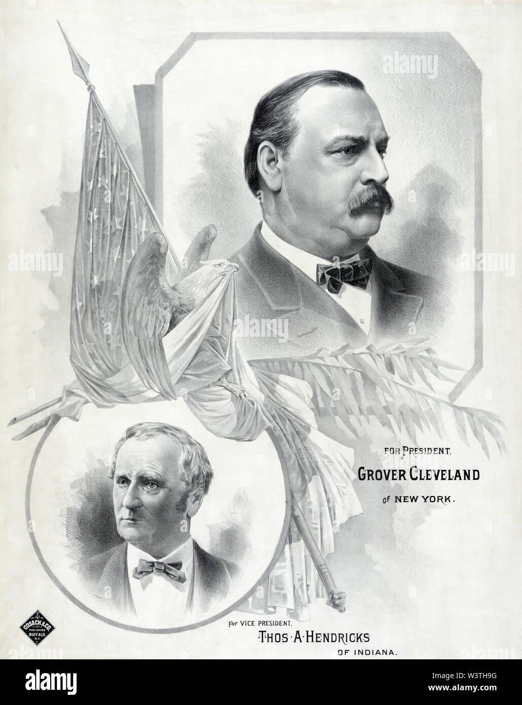Para el Presidente Grover Cleveland, de Nueva York, el Vice Presidente Thos. A. Hendricks, de Indiana, el póster de la campaña durante la elección presidencial de 1888, Litografía publicada por Cosack & Co., 1888 Imagen De Stock