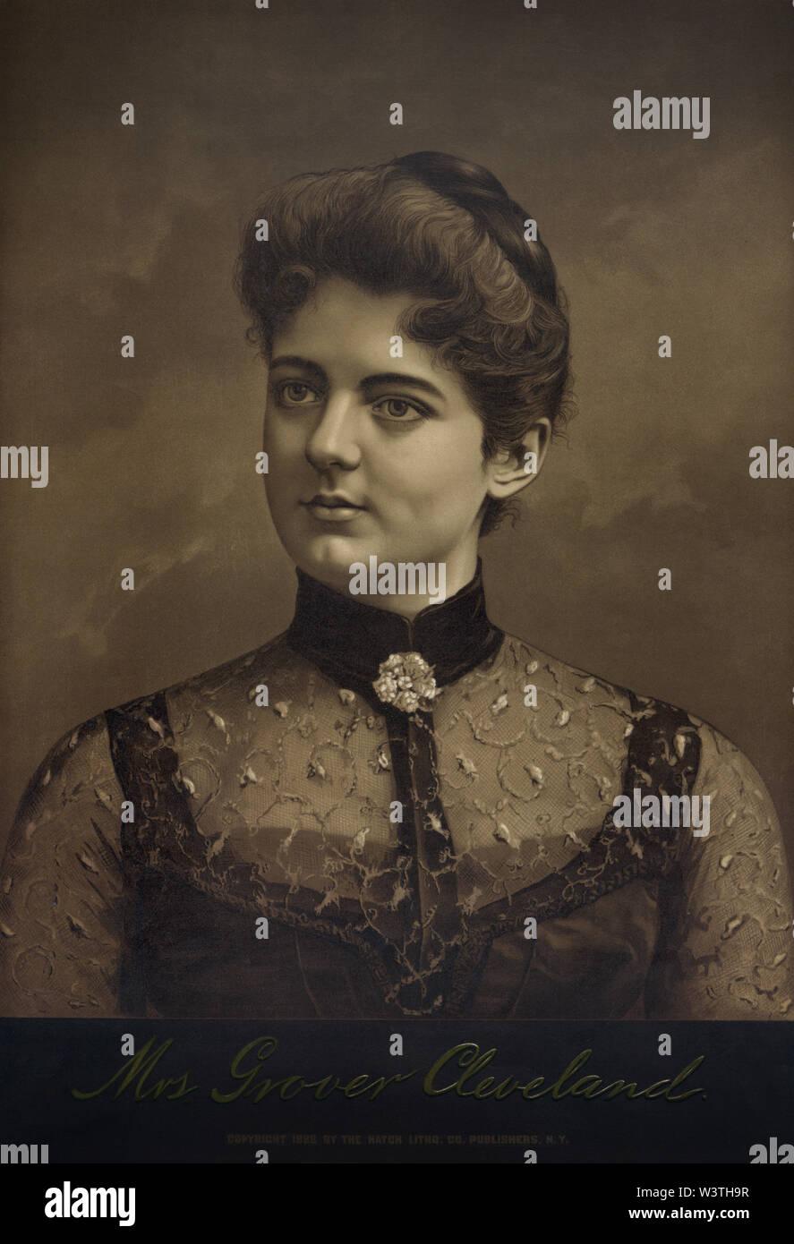 La Sra. Grover Cleveland, Litografía publicado por Hatch Litografía Co., 1888 Imagen De Stock
