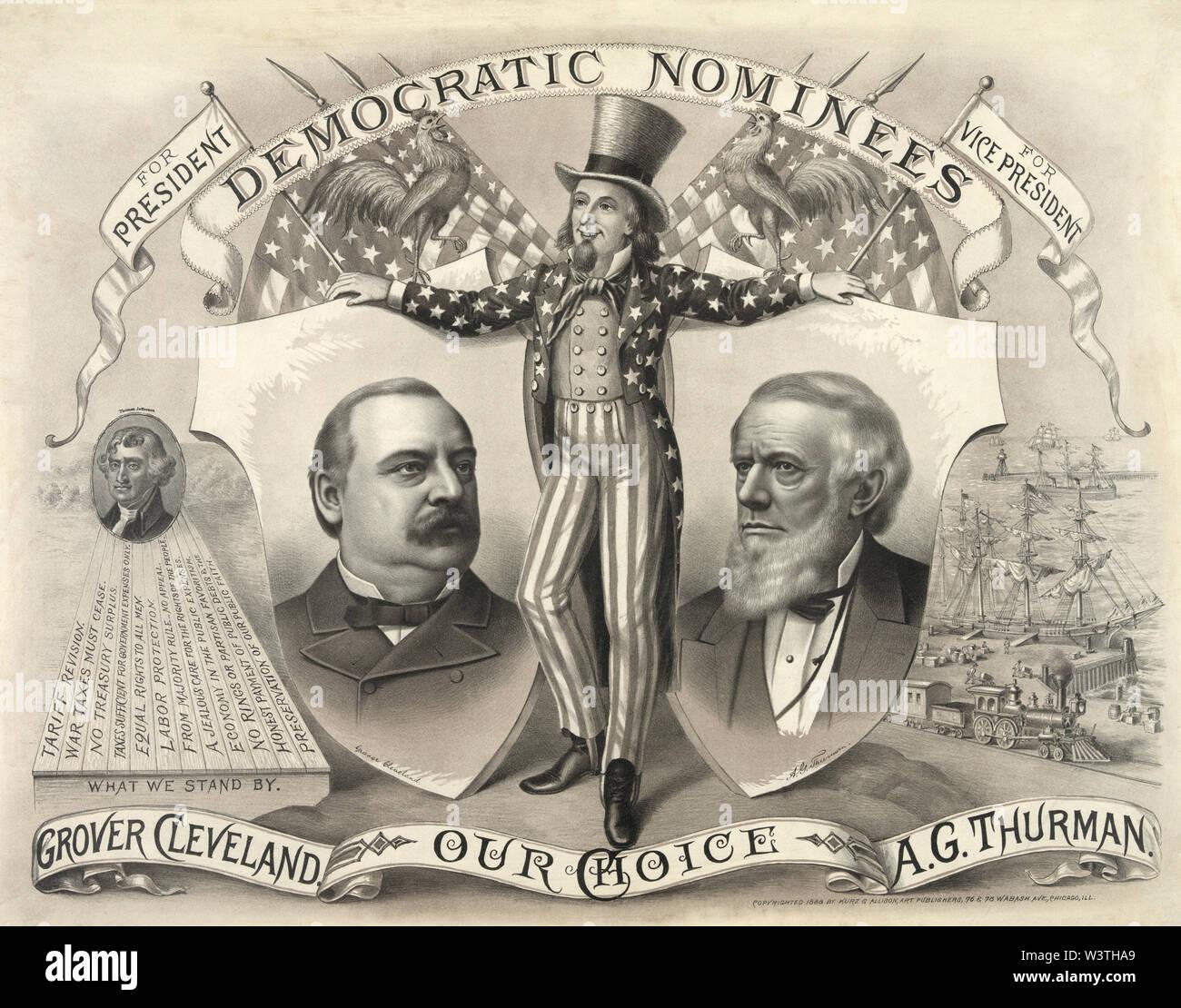 Nuestra elección, Grover Cleveland, A.G. Thurman, Democrática candidatos para Presidente y Vicepresidente, la campaña de carteles, litografía, Kurz & Allison, 1888 Imagen De Stock
