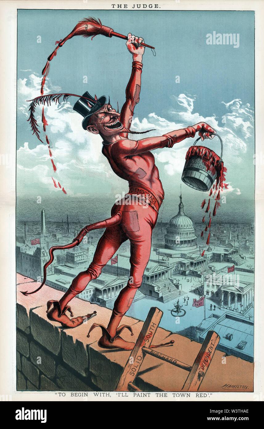 """""""Para empezar, voy a Pintar la Ciudad de Rojo', con una caricatura política Diablo sosteniendo una cuchara denominada """"Principios"""" de bourbon y un pincel, que aparece un perfil caricatura de Grover Cleveland, ilustraciones por Grant E. Hamilton, Juez Magazine, 31 de enero de 1885 Imagen De Stock"""
