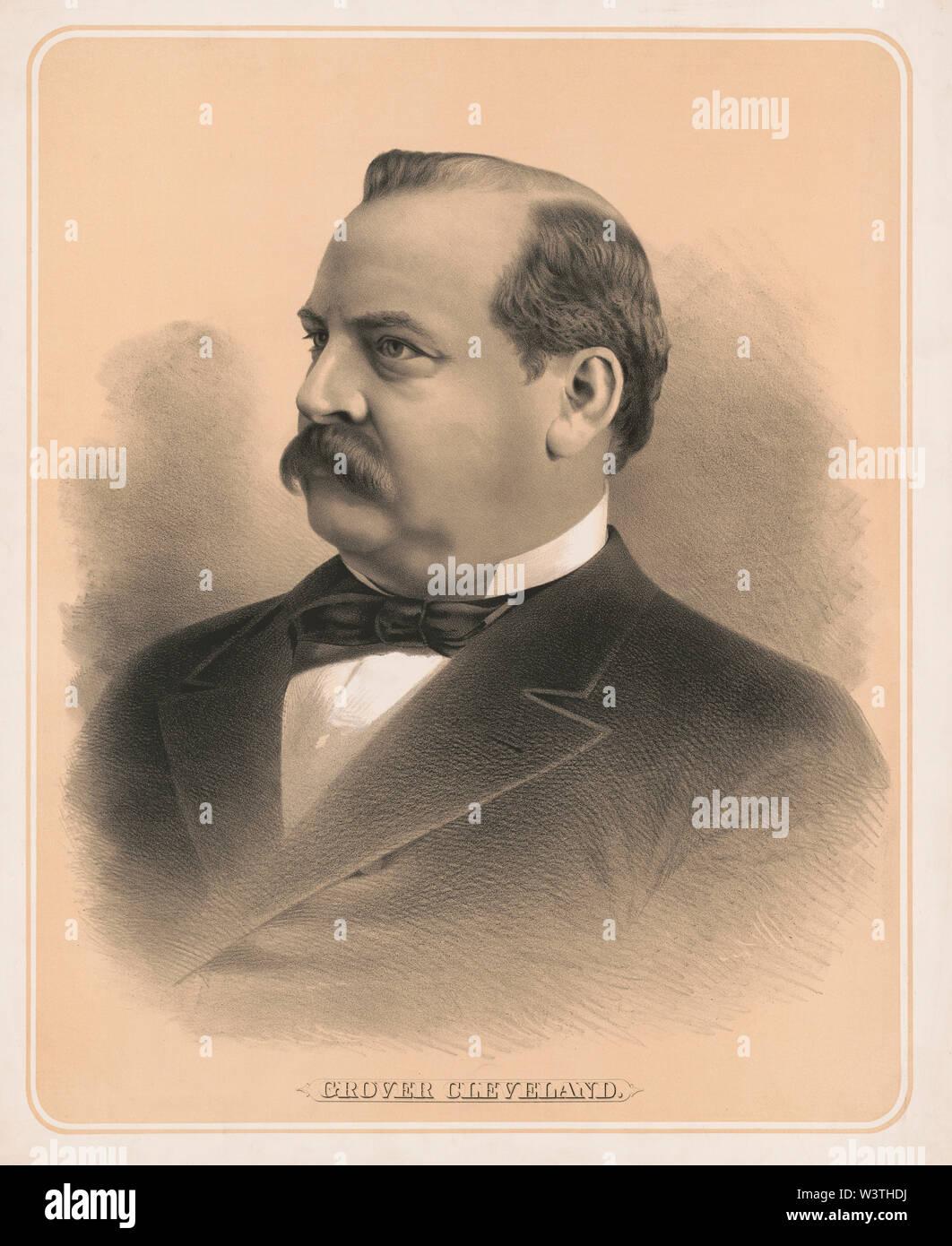 Grover Cleveland (1837-1908), 22º y 24º Presidente de los Estados Unidos 1885-89 y 1893-97, la cabeza y los hombros retrato, litografía, 1884 Imagen De Stock