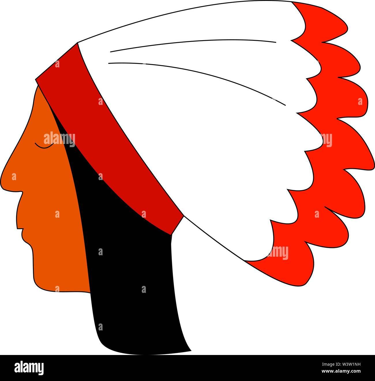 Color rojo indio con plumas, ilustración, vector sobre fondo blanco. Imagen De Stock