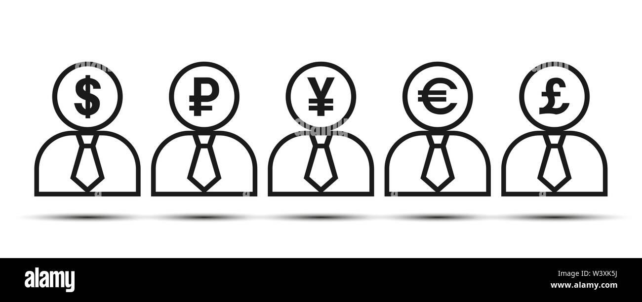 Silueta de un hombre con los símbolos de moneda. Diseño plano Imagen De Stock