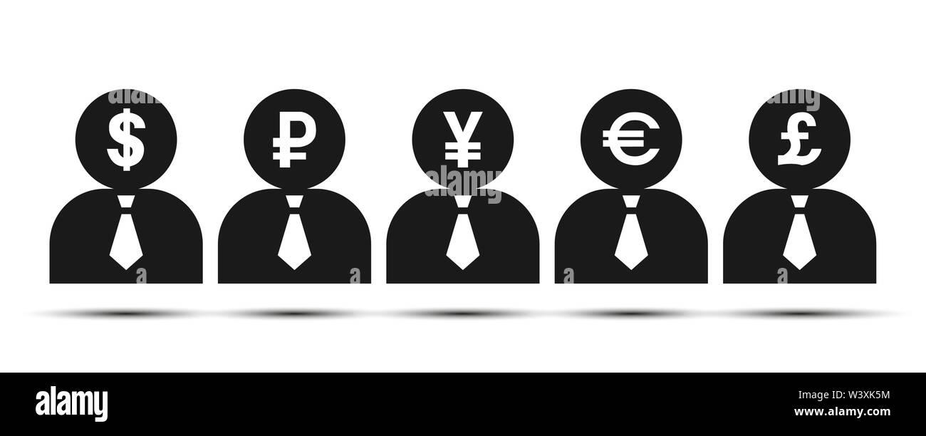 Una silueta oscura de un hombre con los símbolos de moneda. Diseño plano Imagen De Stock