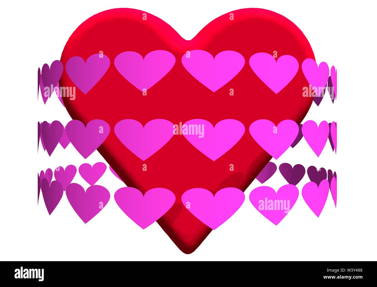 Gran corazón rojo rodeado de corazones de color rosa Imagen De Stock