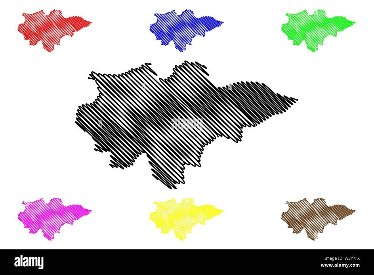 Región de Mopti (regiones de Malí, República de Malí) mapa ilustración vectorial, scribble sketch Mopti mapa Ilustración del Vector