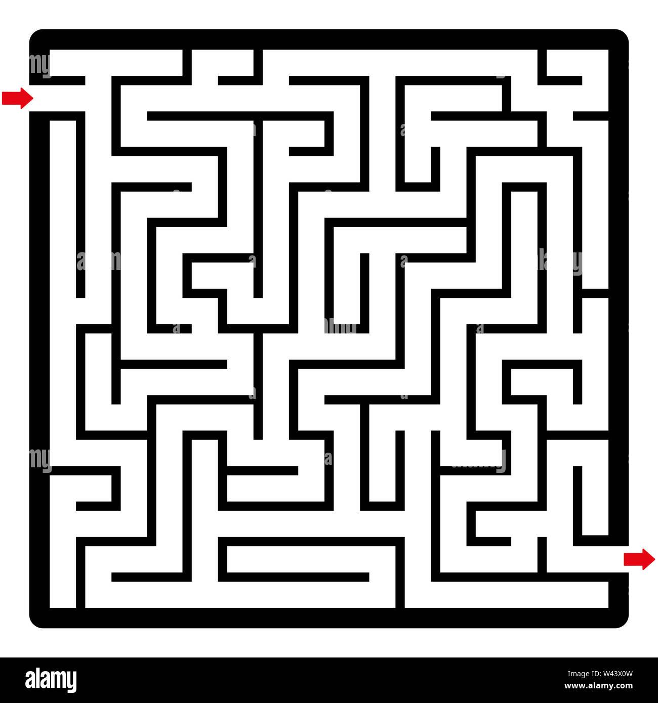 Laberinto, formato cuadrado. Laberinto con dos flechas. Divertido juego para llegar a la meta. Foto de stock