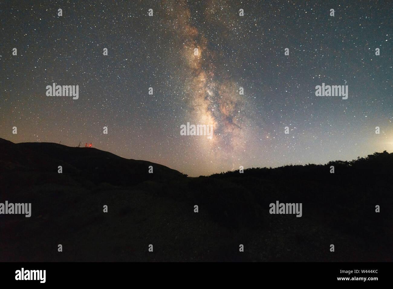 Mar Egeo vía láctea estrellas Foto de stock