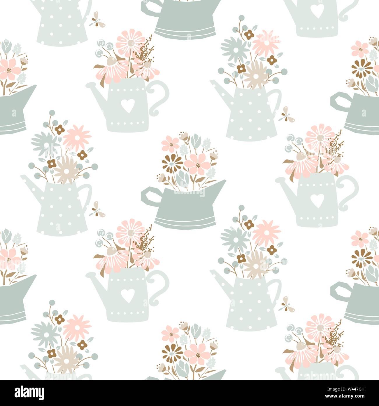 Flores en regadera Añada colores seamless vector patrón. Imagen De Stock