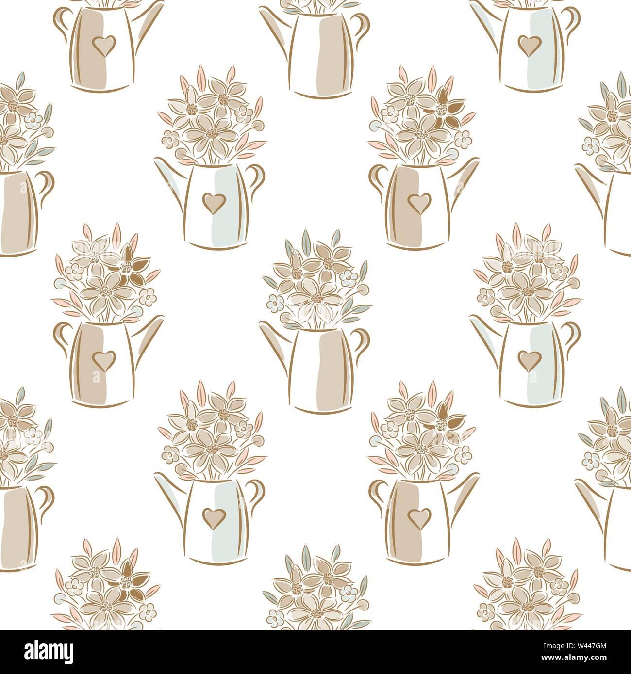 Flores en colores beige regaderas seamless vector patrón. Imagen De Stock