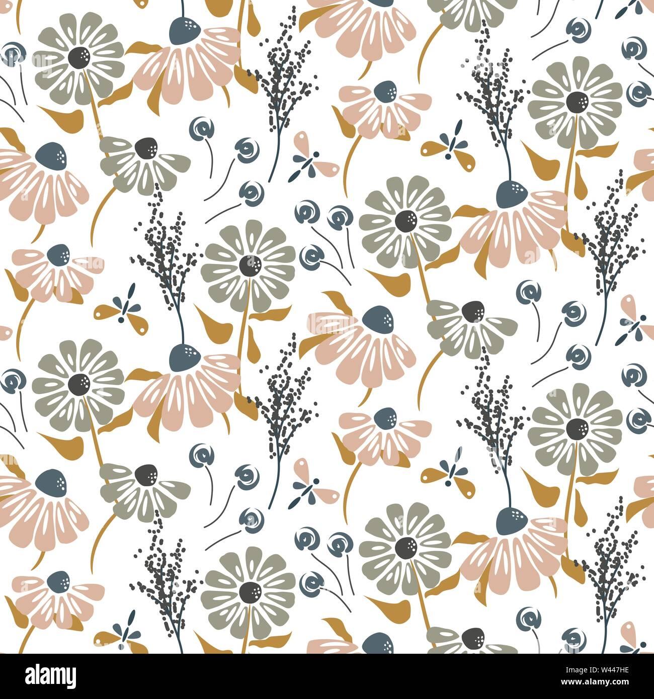 Flores rústico vintage colores pastel seamless vector patrón. Imagen De Stock