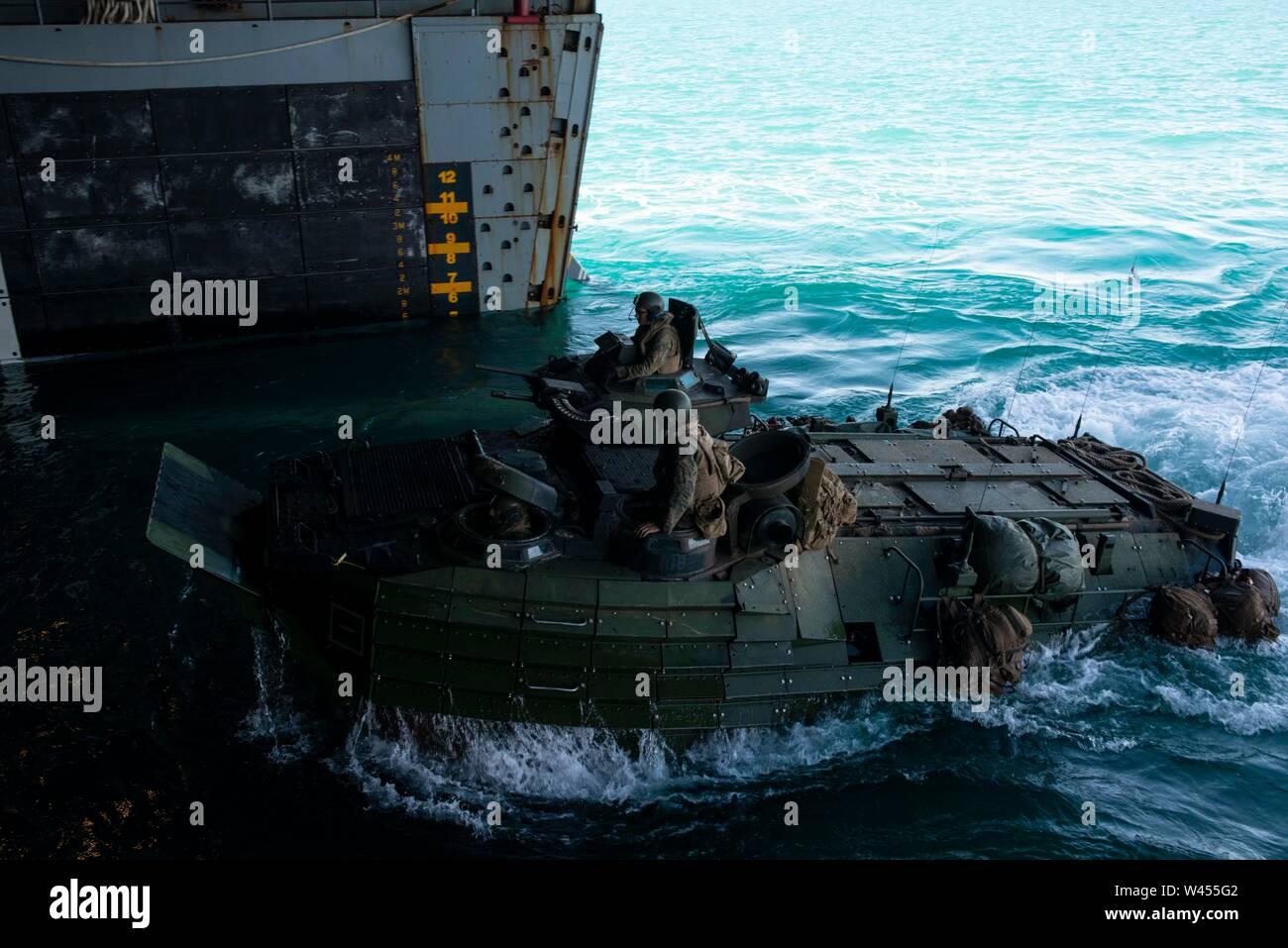 190718-N-DX072-1169 STANAGE Bay, Australia (18 de julio de 2019) un asalto anfibio (AAV), asignado a la 31ª Unidad Expedicionaria de los Infantes de Marina (MEU), entra en la cubierta del buque anfibio de transporte dock USS Green Bay (LPD 20). Green Bay, parte del Grupo de ataque expedicionario Wasp, embarcó con 31 MEU, está participando actualmente en Talisman Sabre 2019 frente a las costas del norte de Australia. A nivel bilateral, evento bienal, Talisman Sabre está diseñado para mejorar el entrenamiento de combate de EE.UU. y Australia, la disponibilidad y la interoperabilidad a través de realistas, la capacitación pertinente necesaria para mantener la región Foto de stock