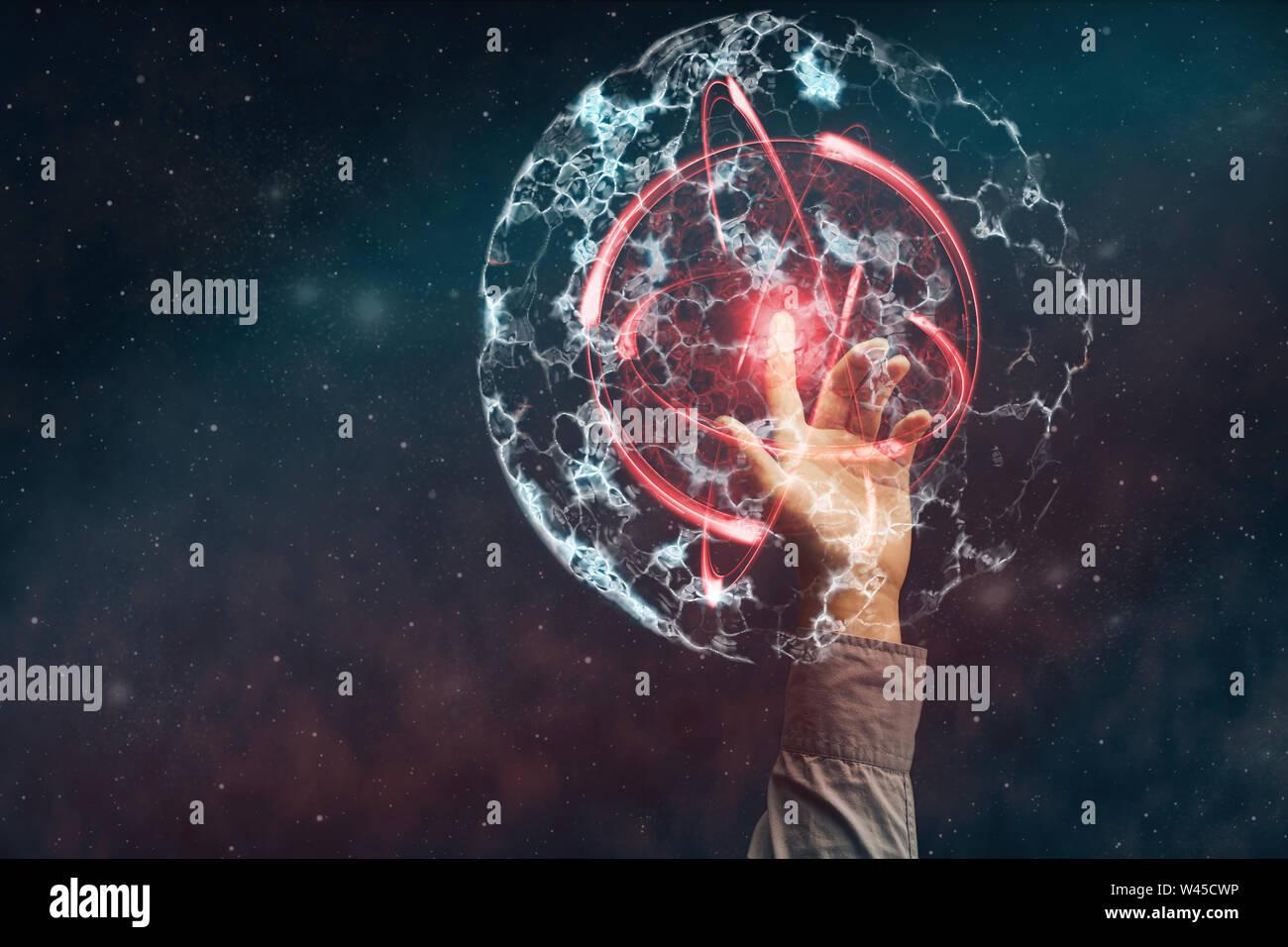 Índice humana toca Dividir celda. Los medios de comunicación mixtos. Foto de stock