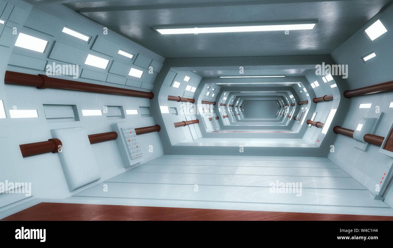3D Render. Concepto interior arquitectura futurista Foto de stock