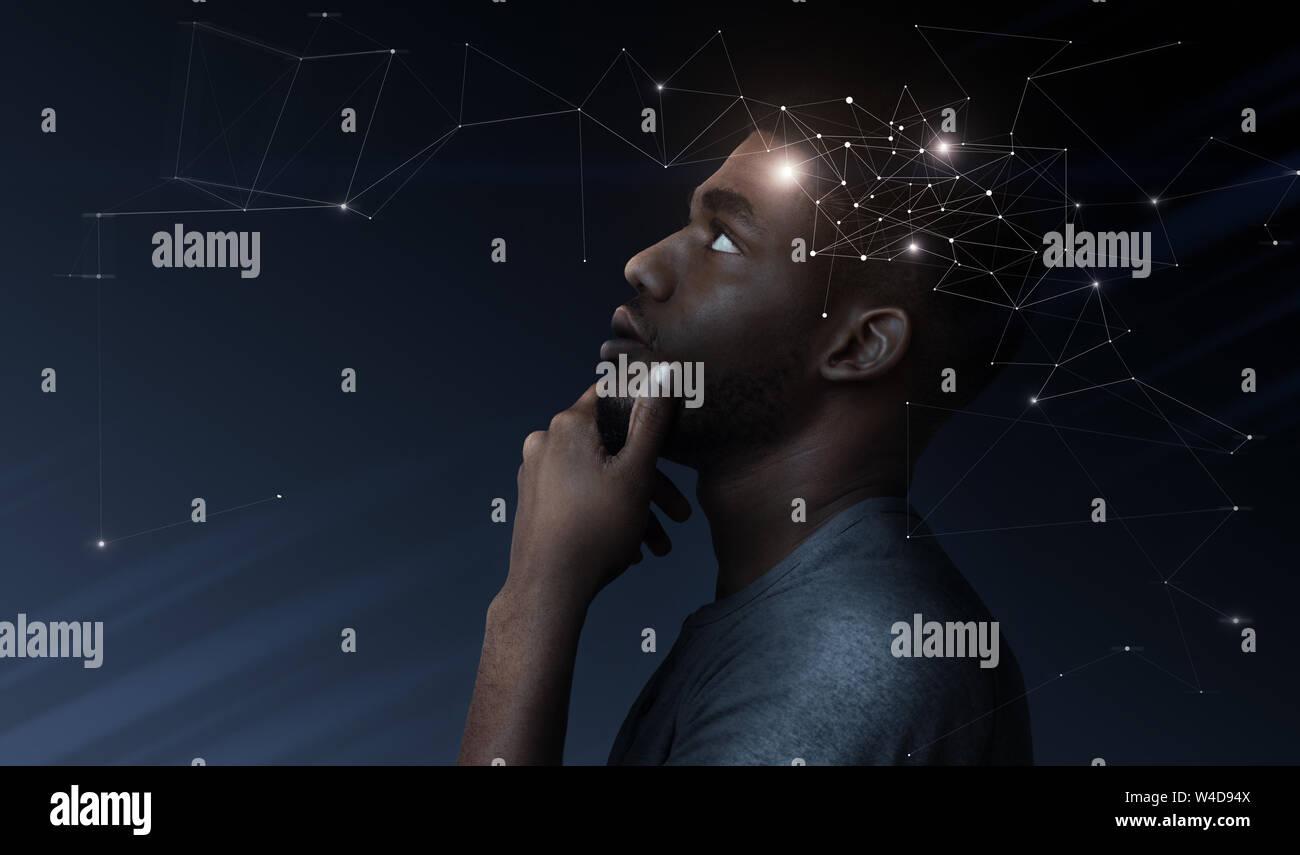 Pensativo hombre africano con la ilustración del proceso de actividad cerebral Foto de stock