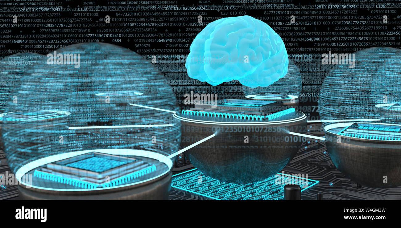 Desarrollo de la inteligencia artificial, el cerebro humano con microchips en red, Ilustración 3D Foto de stock