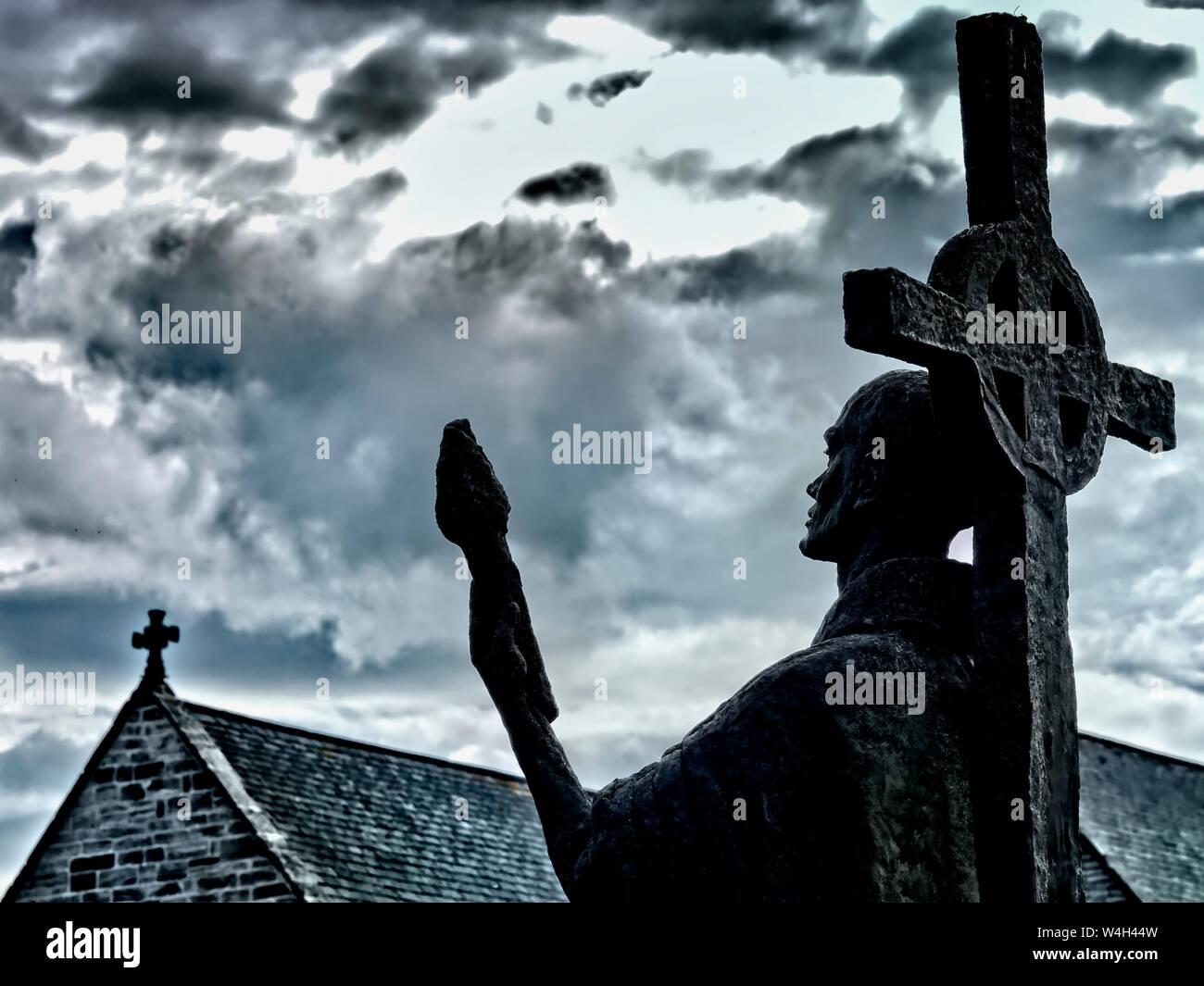 Estatua de San Aidan de Lindisfarne Foto de stock