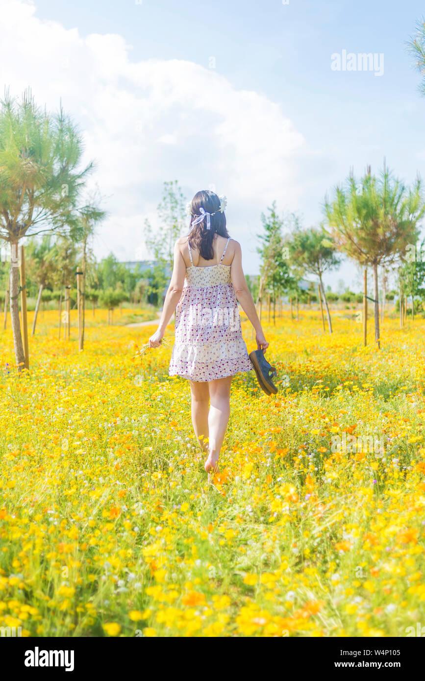 Vista trasera de una mujer hermosa en el vestido caminando por un campo de flores que llevan sus zapatos Foto de stock