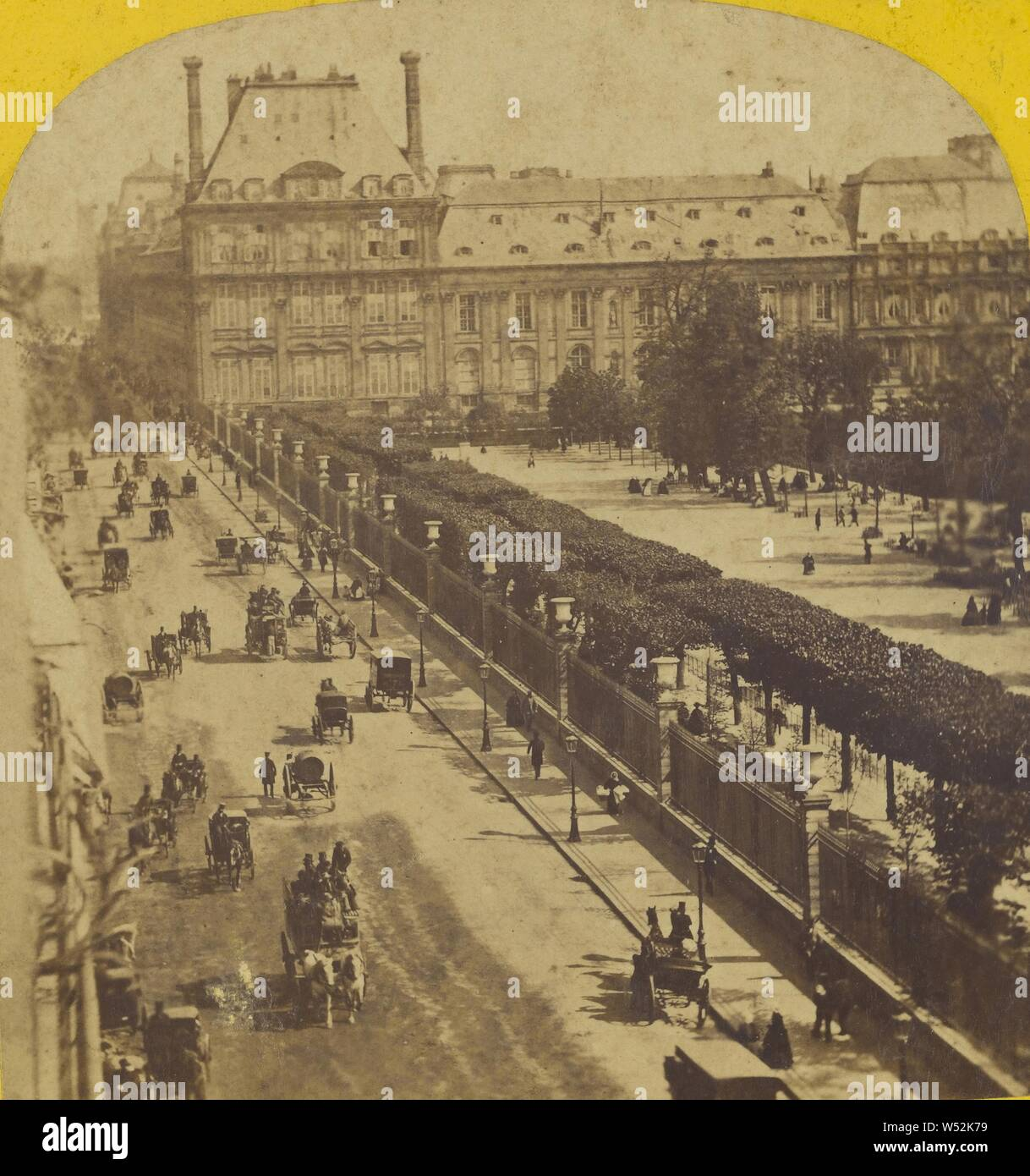 París instantanne. Palais et Jardin des Tuilleries. La rue de Rivoli., Desconocido maker, Francés, alrededor de 1865, albúmina imprimir plata Foto de stock