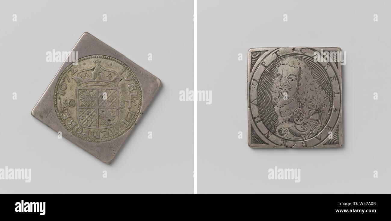 Asedio de Groningen, moneda de emergencia con retrato de Karl Rabenhaupt moneda de emergencia en forma de diamante, con esquinas redondeadas. Anverso: Escudo coronado (gran sello) entre la indicación de valor dentro de una inscripción. Reverso: busto de Rabenhaupt hacia la izquierda, dentro de un círculo, Groningen, Karl Rabenhaupt (barón von Sucha), anónimos, 1672, plata (metal), grabado, h 4,7 cm × W 4,7 cm × w 28.25 Foto de stock