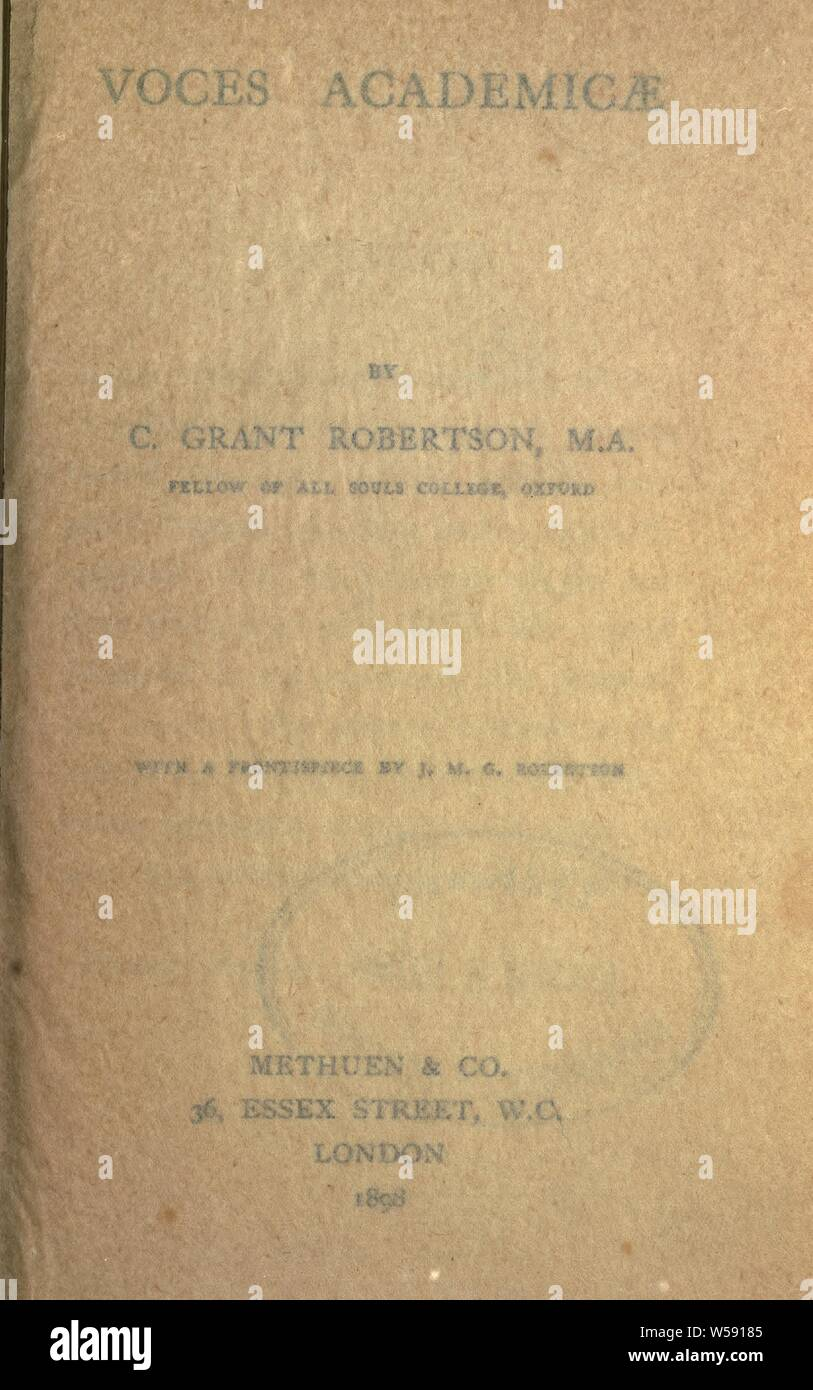 Voces academicae : Robertson, Charles Grant, Sir, 1869-1948 Foto de stock