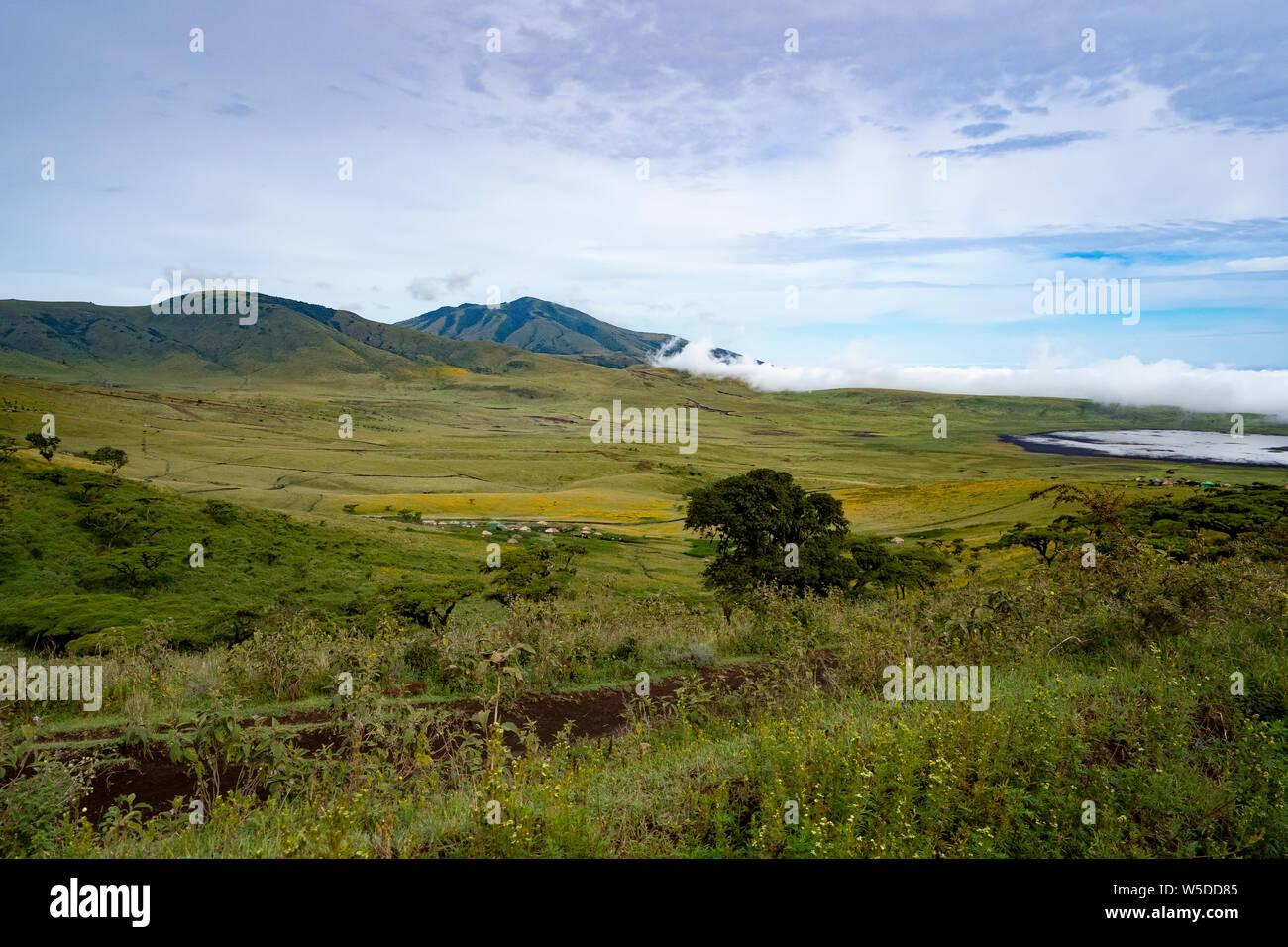 En el Área de Conservación de Ngorongoro, Tanzania. Vista del cráter Foto de stock