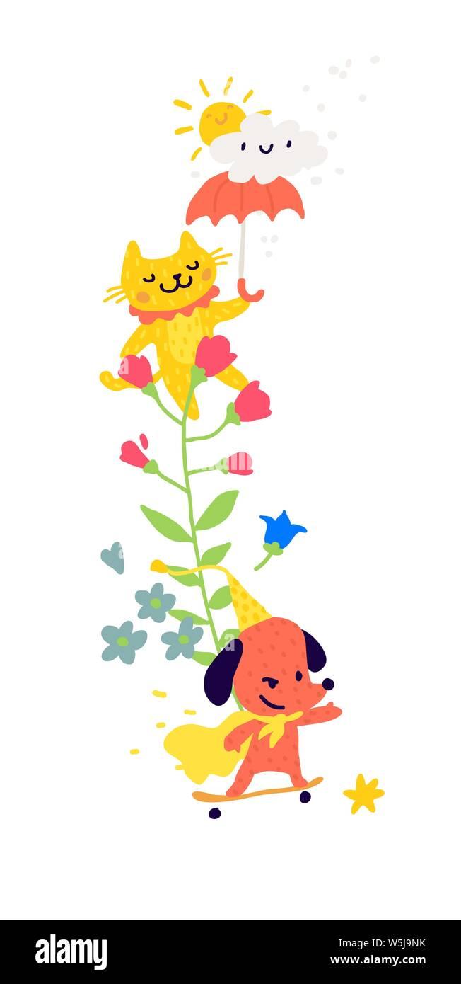 Ilustración De Un Gato Con Un Paraguas Y Perros En Un