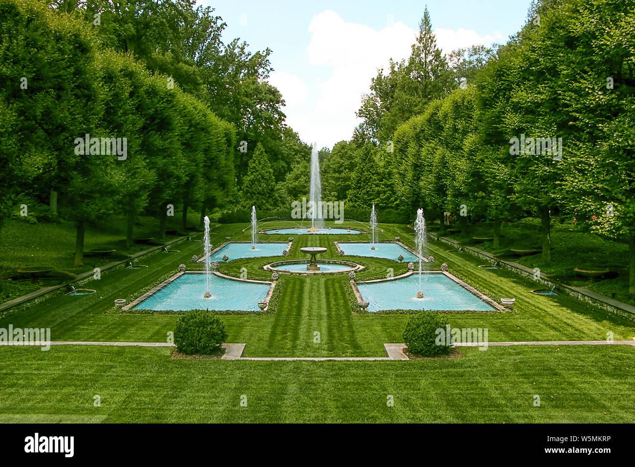 Fuentes, Longwood Gardens en Kennett Square, el condado de Chester, Pensilvania, EE.UU Foto de stock