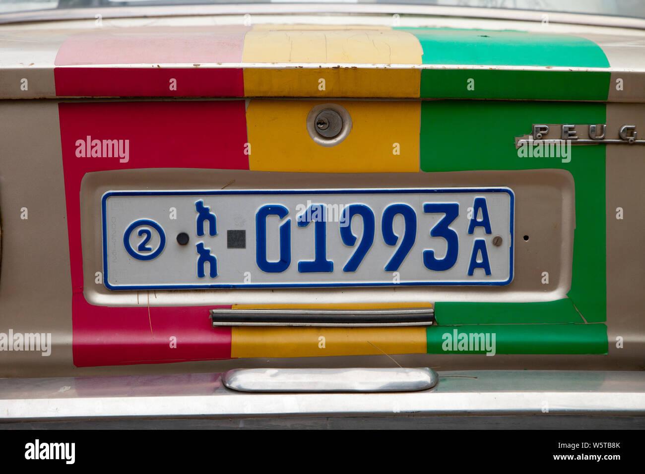 Matrícula de coche, Addis Abeba, Etiopia, África Foto de stock