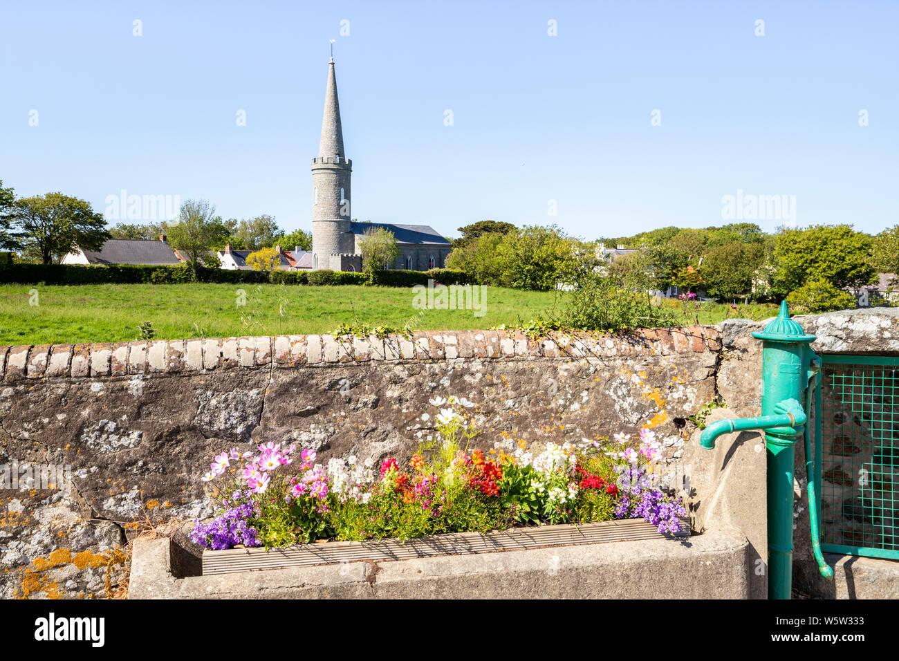 Flores en un viejo comedero de agua junto a una bomba en Torteval, Guernsey, Islas del Canal UK Foto de stock