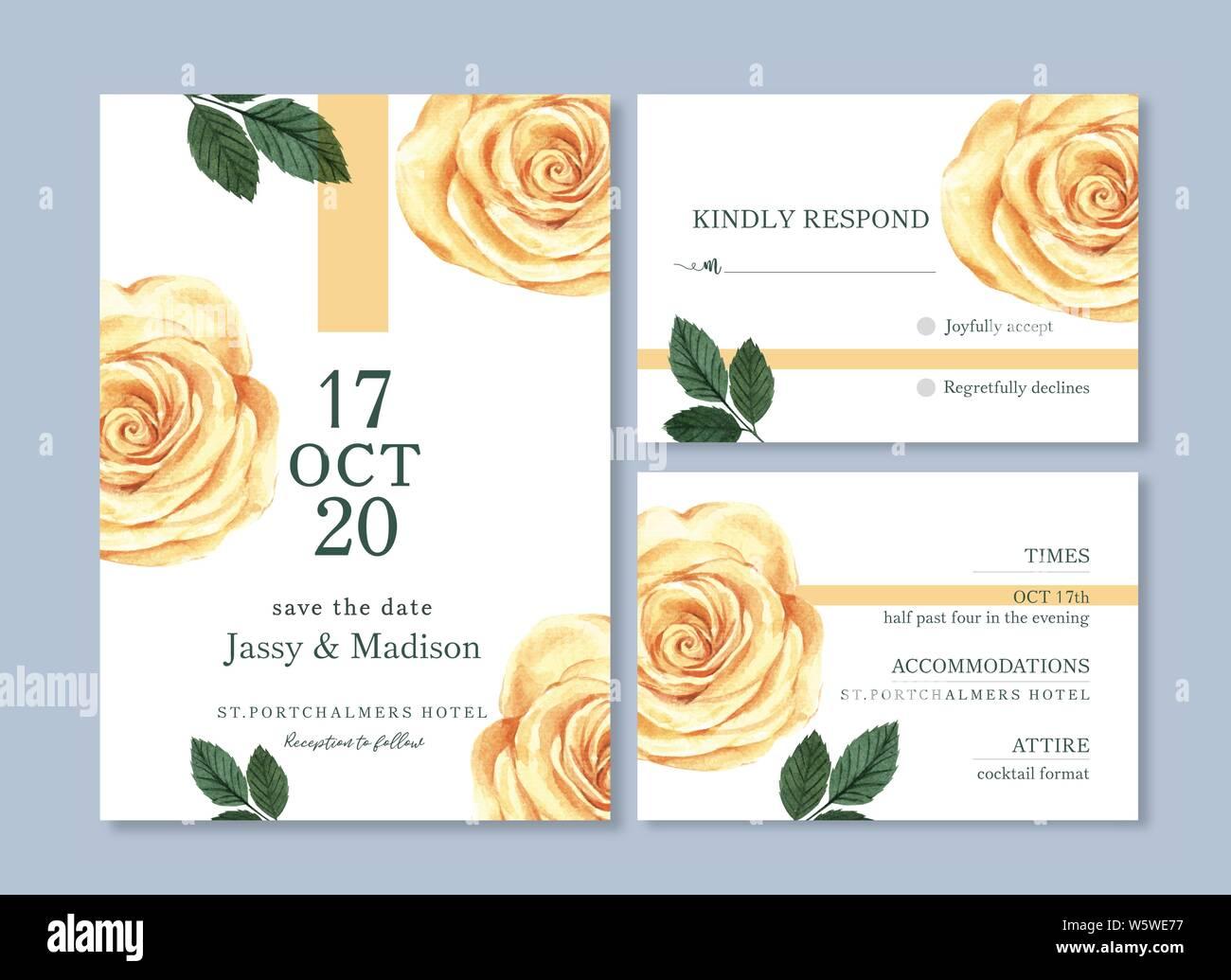 Tarjeta De Boda Flor Acuarela Gracias Tarjeta Invitación