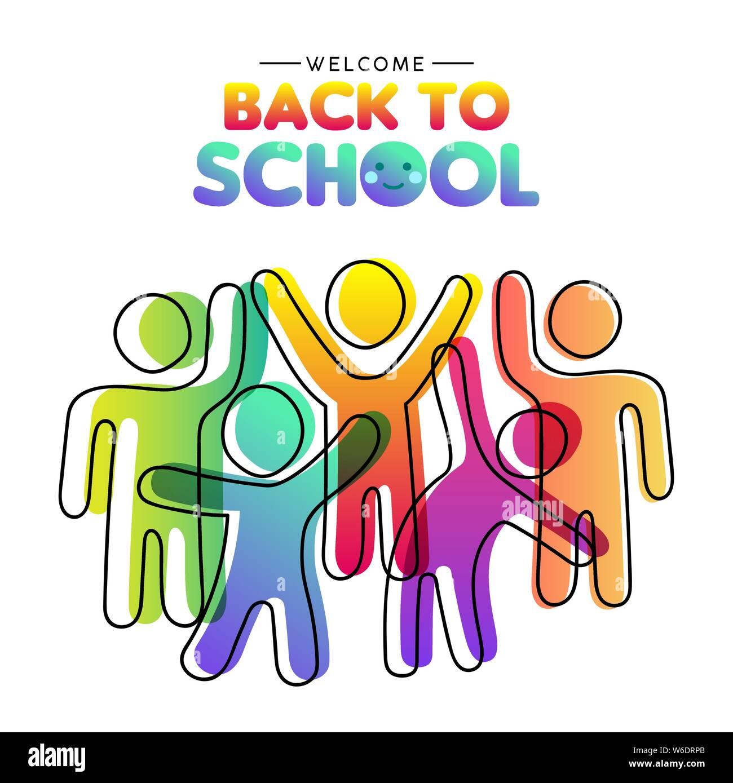 Bienvenido de vuelta a la escuela tarjeta de ilustración colorida diverso grupo de estudiantes juntos. Los niños compañeros concepto en moderno estilo de color degradado. Ilustración del Vector