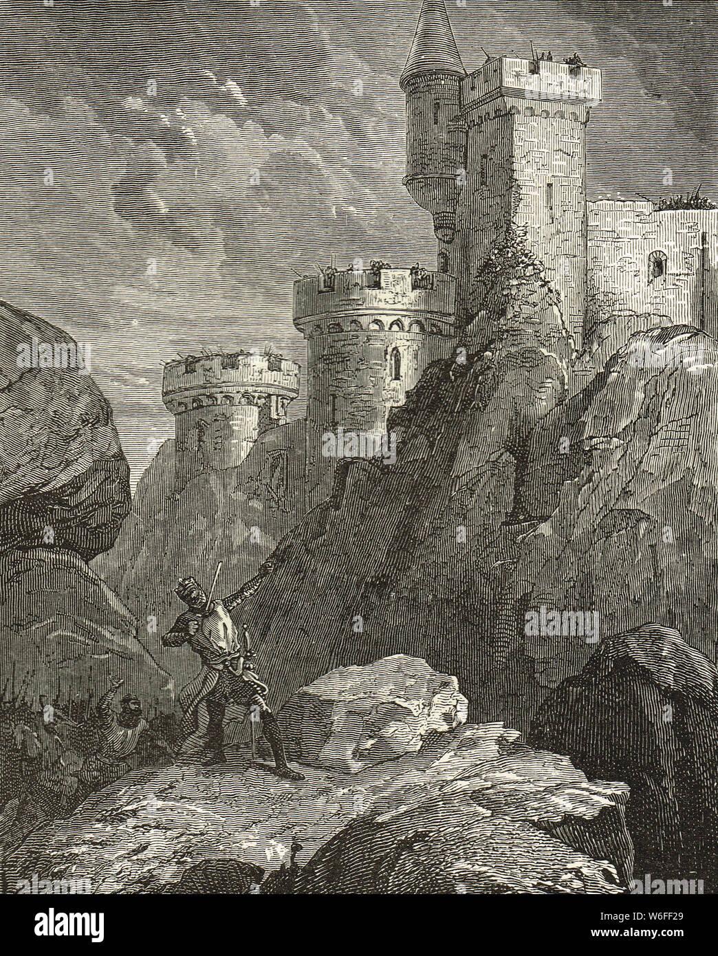 El rey Ricardo I (Corazón de León) herido mortalmente, el castillo de Chalus, 25 de marzo de 1199, el Château de Chalus-Chabrol, Haute-Vienne, Francia Foto de stock