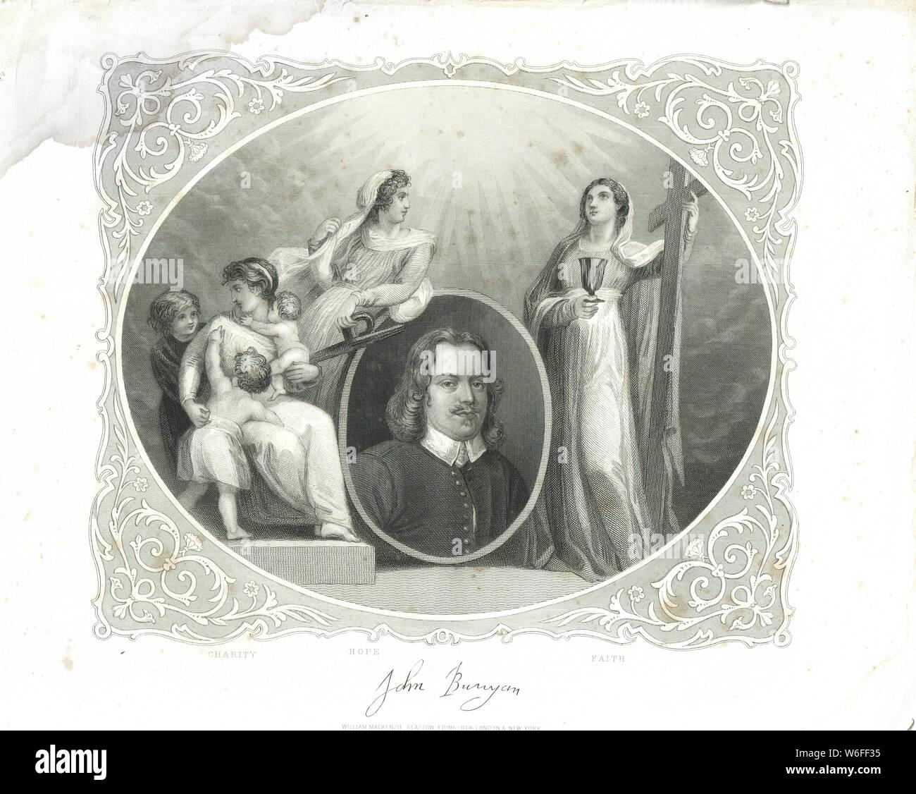 La caridad, Esperanza y fe, retratada con John Bunyan, autor de El Progreso del Peregrino Foto de stock