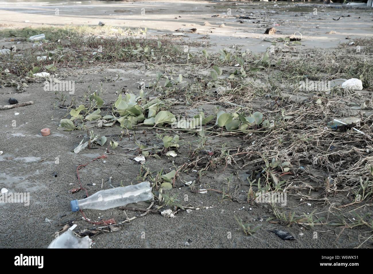 Botellas de plástico para agua la contaminación en el océano (concepto de entorno). Botella de plástico en la playa. El plástico mata a nuestras criaturas marinas. Foto de stock