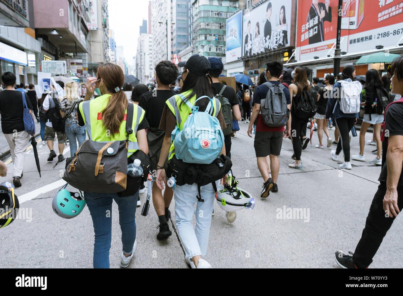 Hong Kong, Mongkok - 3 de agosto, 2019: protesta contra el proyecto de ley de extradición de Hong Kong. Miles de Hong Konger marcharon a lo largo de la Nathan Road. Foto de stock
