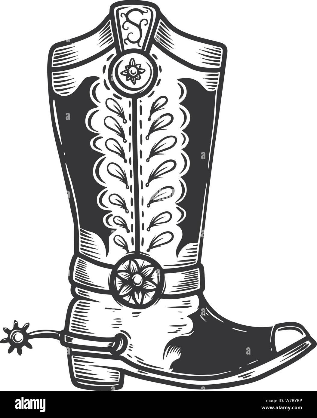 Ilustración dibujada a mano de bota de vaquero aislado sobre