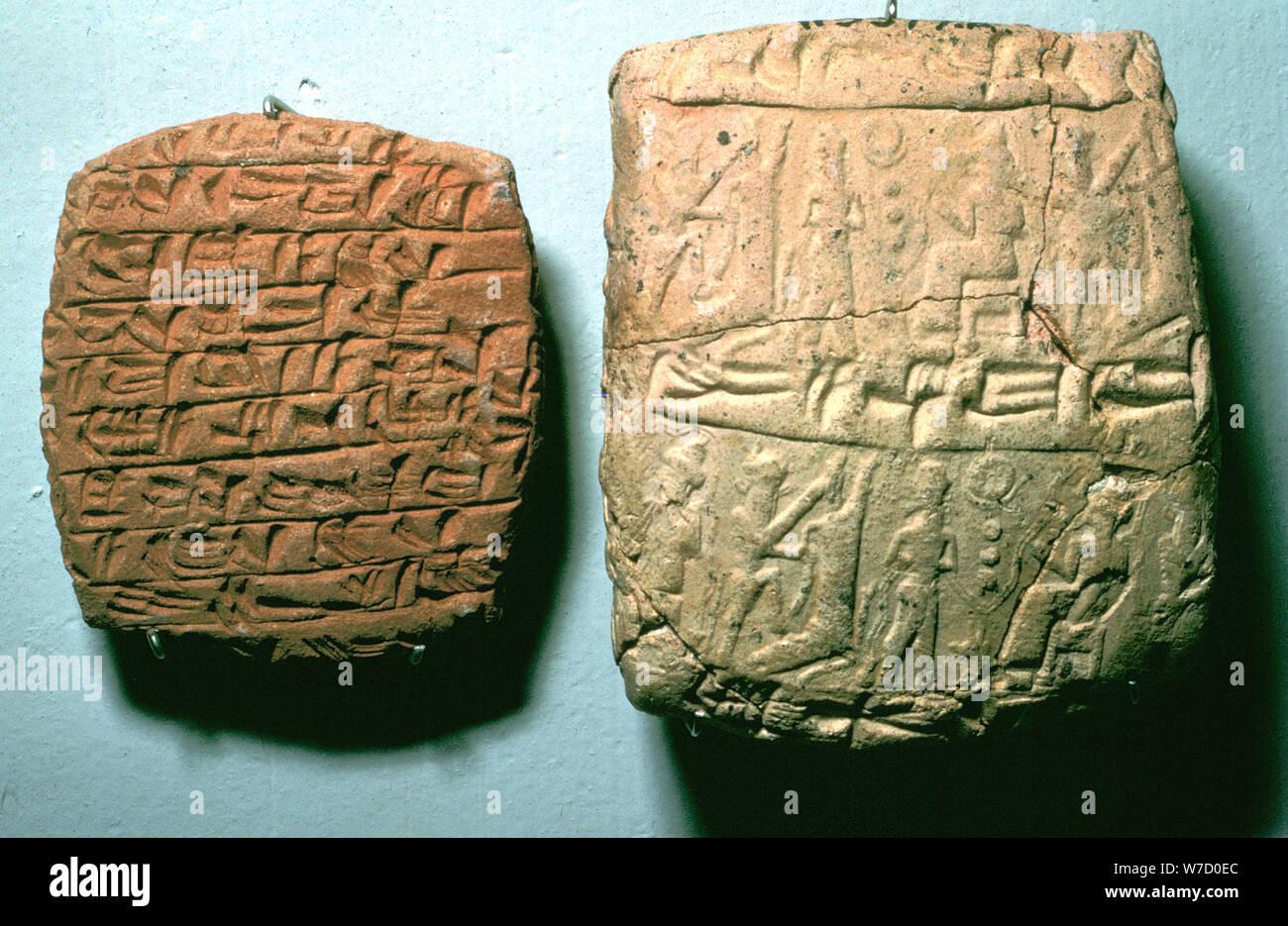 Clay Tablet hitita y envolvente, Kul-Tepe, c1900 de BC. Artista: Desconocido Foto de stock