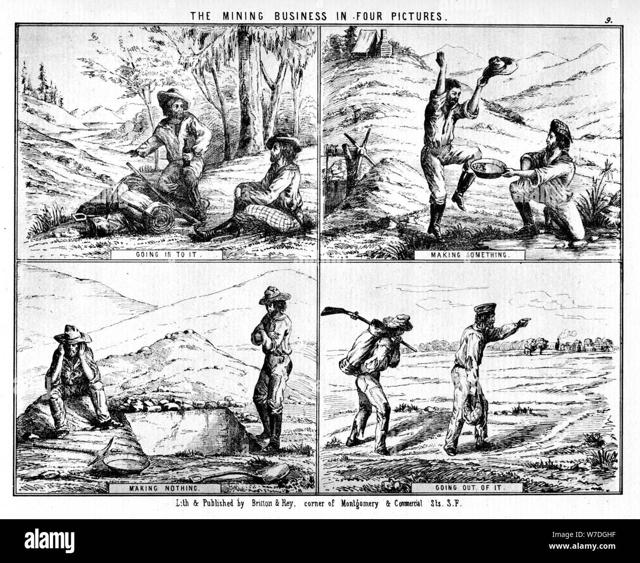 """""""El negocio minero en cuatro imágenes"""", del siglo XIX (1937).Artista: Britton & Rey Foto de stock"""