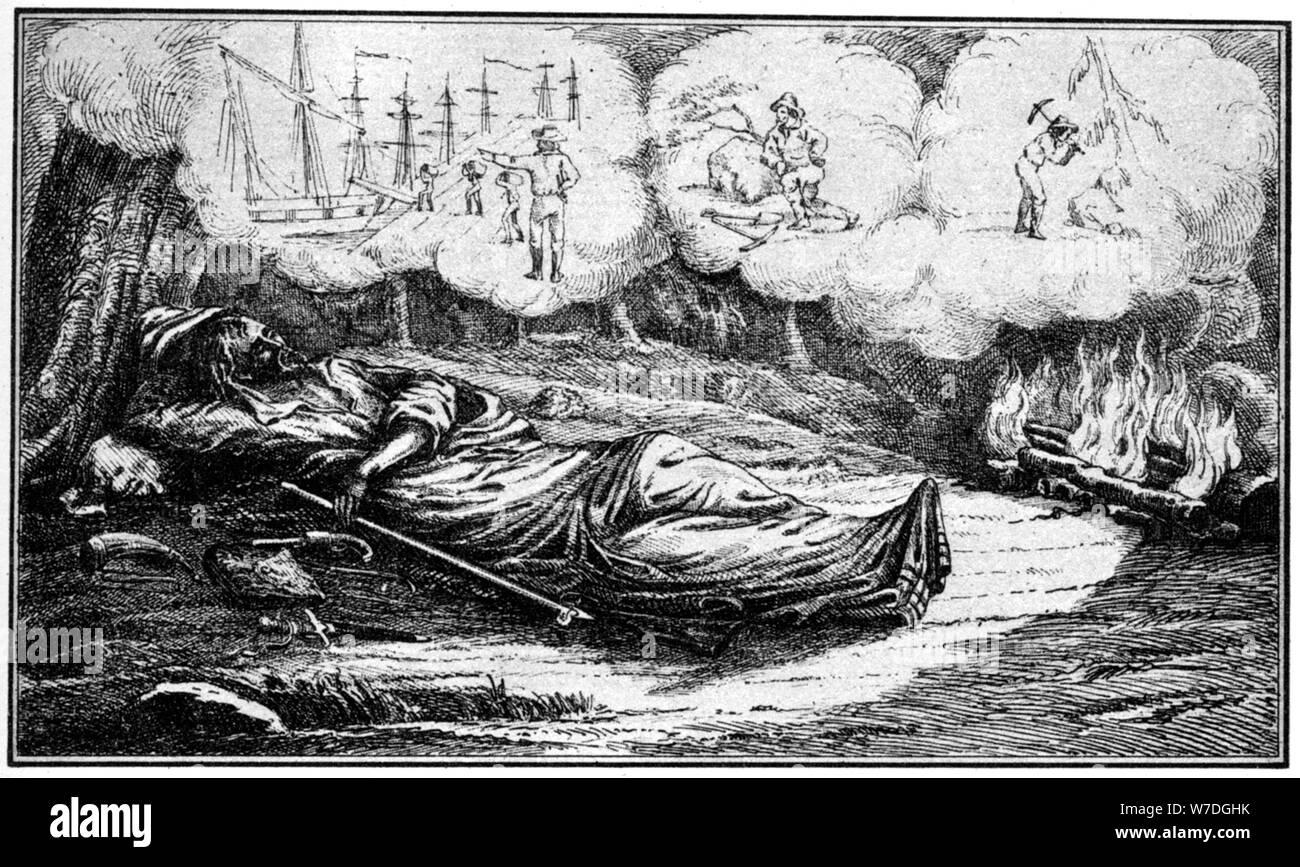 El sueño de una prospección minera del siglo XIX (1937).Artista: Britton & Rey Foto de stock