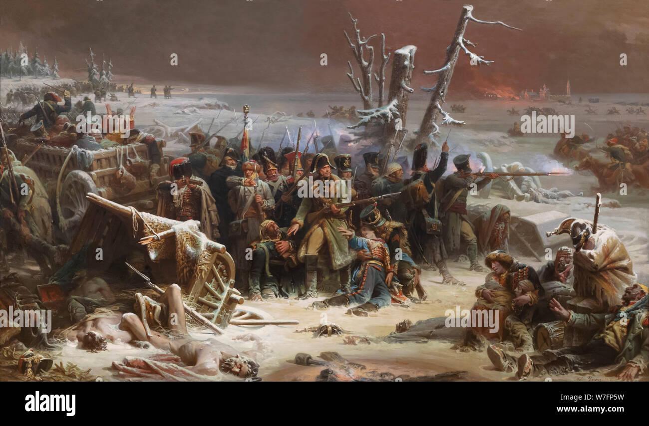 El Mariscal Ney apoyando la retaguardia durante la retirada de Moscú, Adolphe Yvon, 1856, Foto de stock