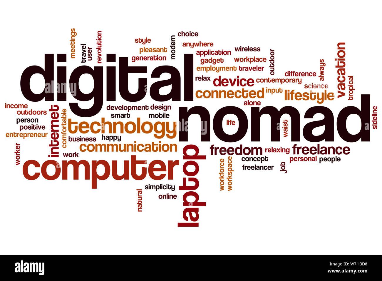 Nómada Digital word concepto cloud Foto de stock
