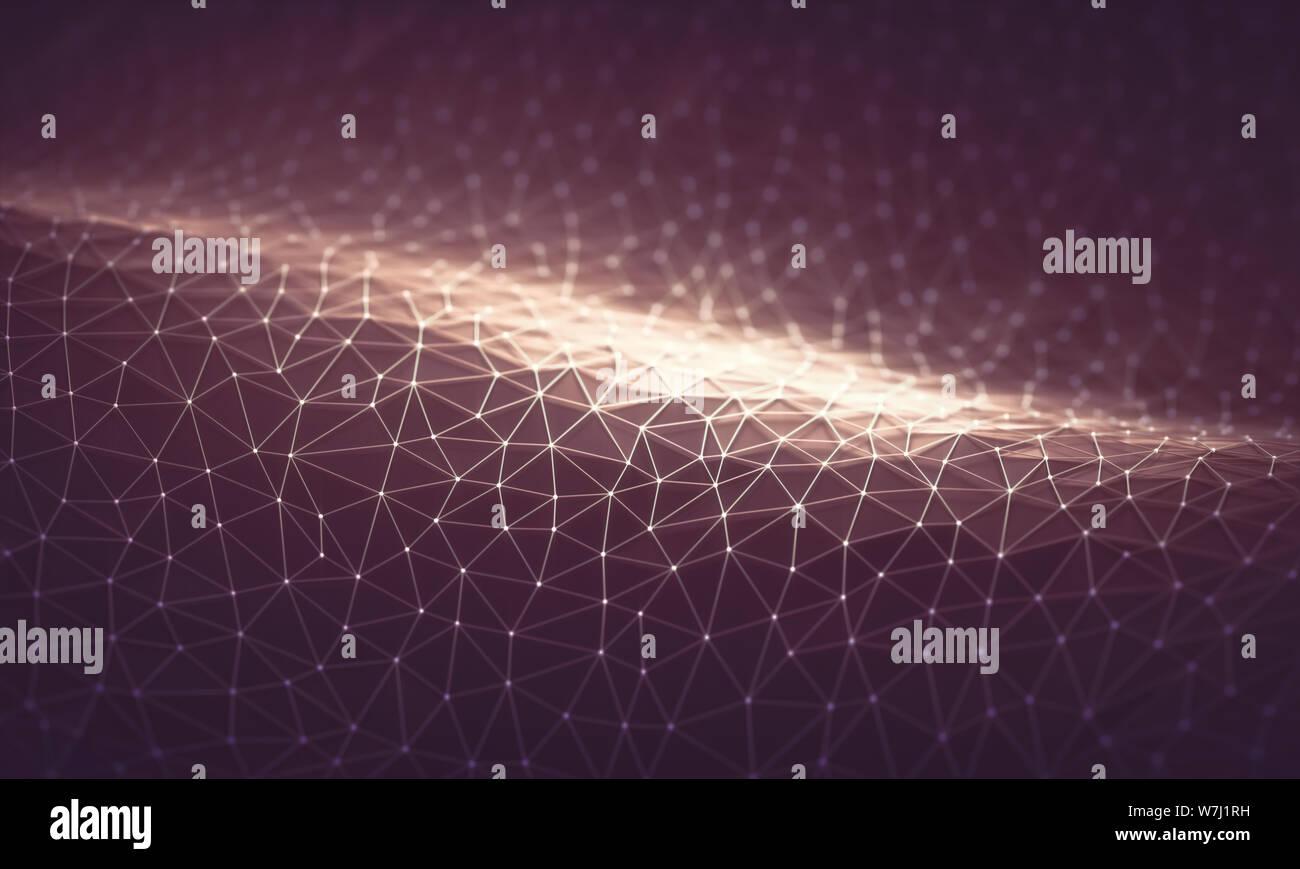Malla tridimensional de líneas y puntos en forma abstracta en concepto de tecnología. Imagen para utilizar como fondo. Ilustración 3D. Foto de stock
