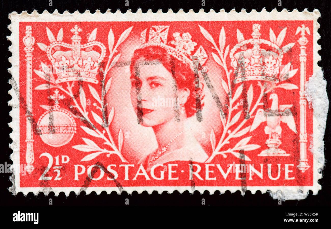 Gran Bretaña Estampilla Postal - La Reina Elizabet II Coronación Foto de stock