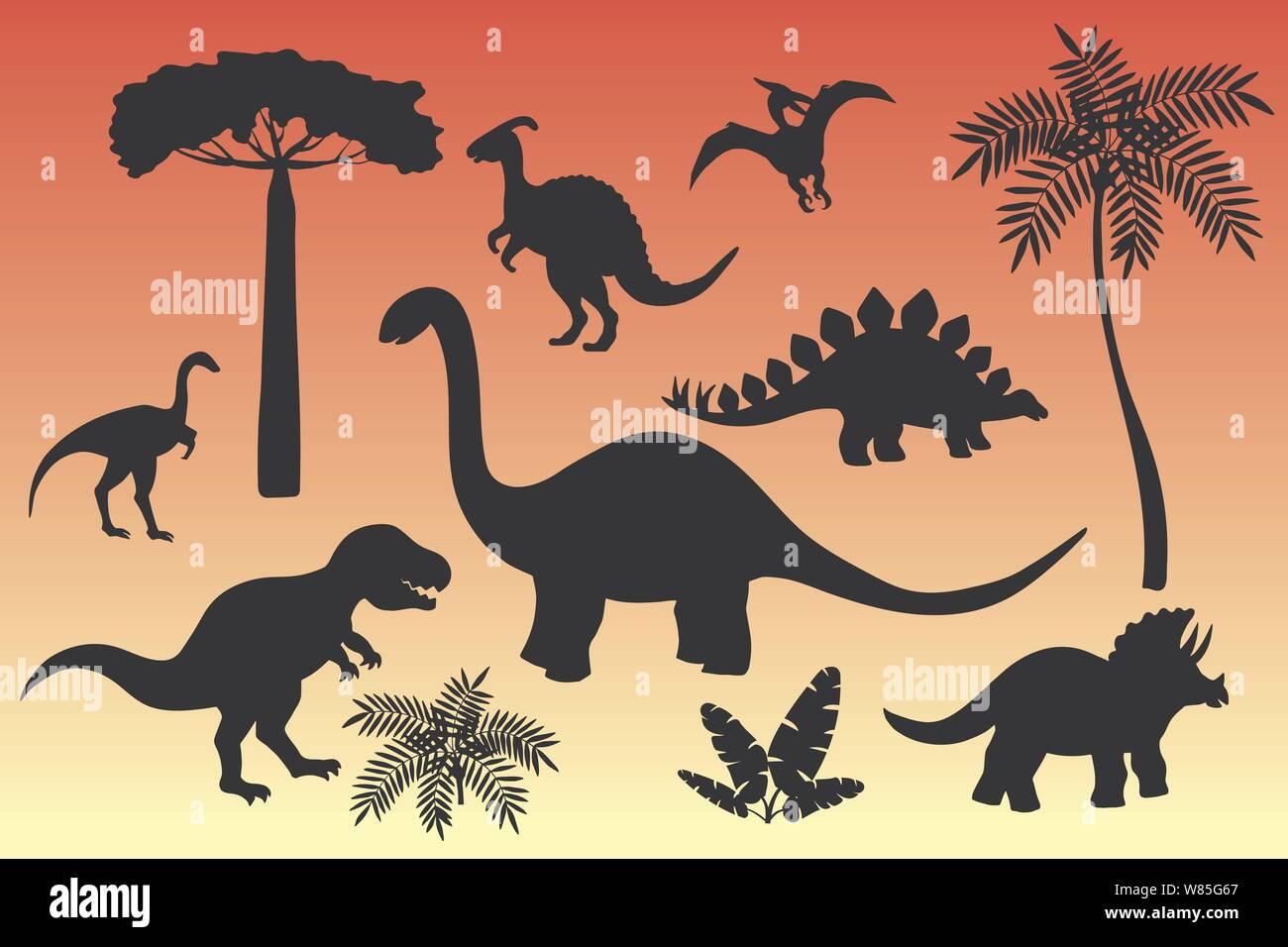 Conjunto De Siluetas De Dinosaurios En Negro Sobre Un Fondo De Rojo Atardecer El Estegosaurio El Triceratops El Tiranosaurio Brontosaurus Pterodactilo Y Otros Imagen Vector De Stock Alamy Imágenes de stock en hd y millones de otras fotos, ilustraciones y vectores en stock libres de regalías en la colección de shutterstock. https www alamy es conjunto de siluetas de dinosaurios en negro sobre un fondo de rojo atardecer el estegosaurio el triceratops el tiranosaurio brontosaurus pterodactilo y otros image263195247 html